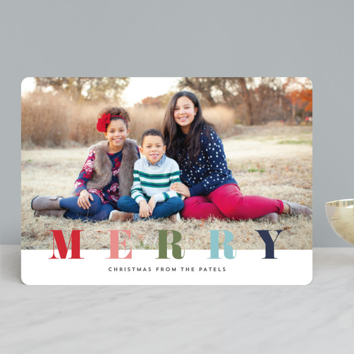 """""""multi merry"""" - Christmas Photo Cards in Raspberry by Stacey Meacham."""