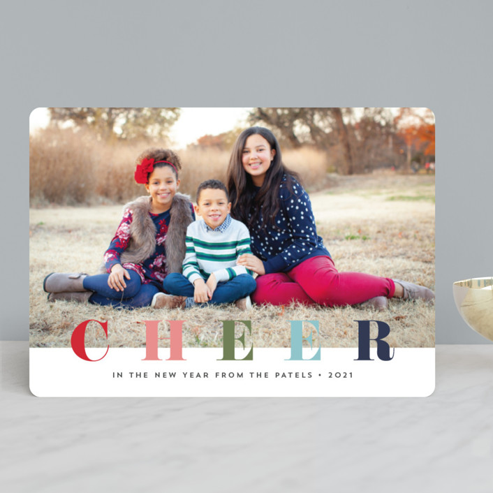 """multi merry"" - Christmas Photo Cards in Raspberry by Stacey Meacham."