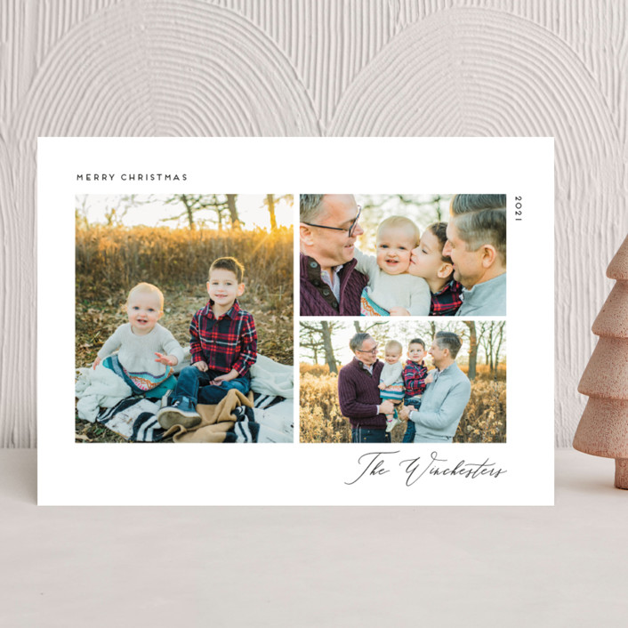 """Minimal Chic"" - Christmas Photo Cards in Onyx by Genna Blackburn."