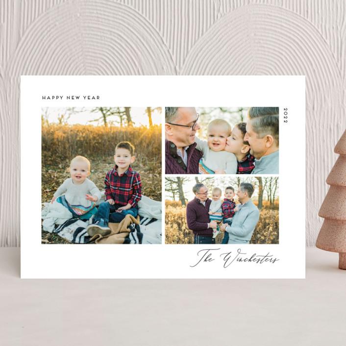 """Minimal Chic"" - Christmas Photo Cards in Onyx by Genna Blackburn."