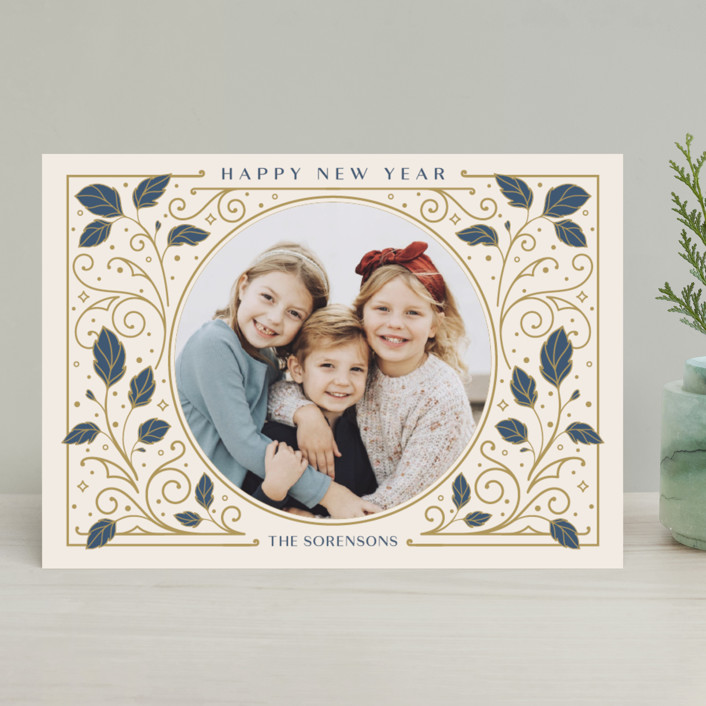 """Heirloom"" - Vintage Christmas Photo Cards in Antique by GeekInk Design."