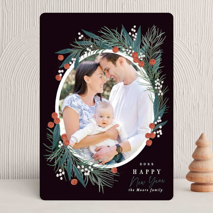 """""""Pine Joy"""" - Christmas Photo Cards in Midnight by Alethea and Ruth."""