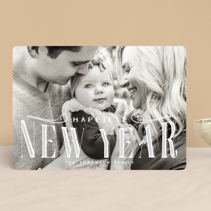"""CHRISTmas"" - Vintage Christmas Photo Cards in Snowcap by GeekInk Design."