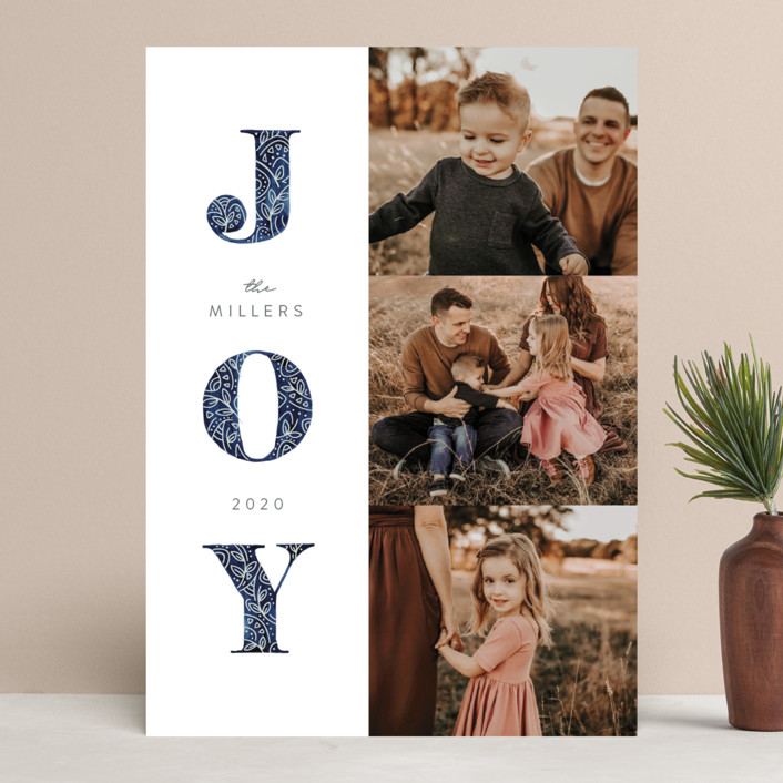 """Decorated Joy"" - Christmas Photo Cards in Navy by JeAnna Casper."