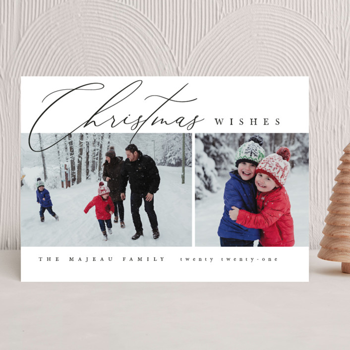 """""""Editorial chic"""" - Christmas Photo Cards in Snow by Kelly Schmidt."""