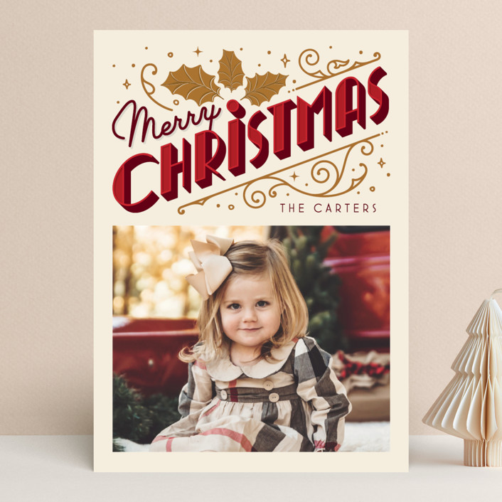 """""""Christmas Past"""" - Vintage Christmas Photo Cards in Cream by GeekInk Design."""