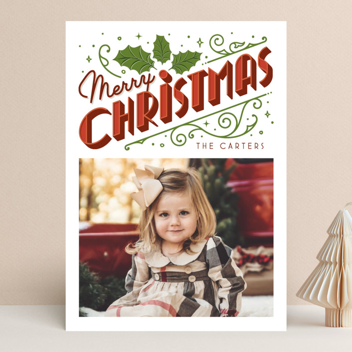 """""""Christmas Past"""" - Vintage Christmas Photo Cards in Snow by GeekInk Design."""