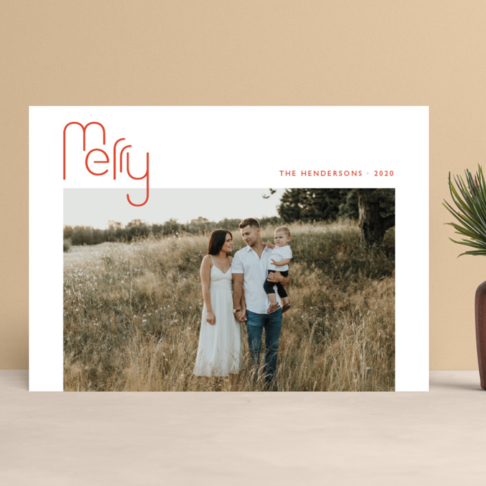 """""""Geo Merry"""" - Christmas Photo Cards in Candied Orange by Magdalena Earnest."""