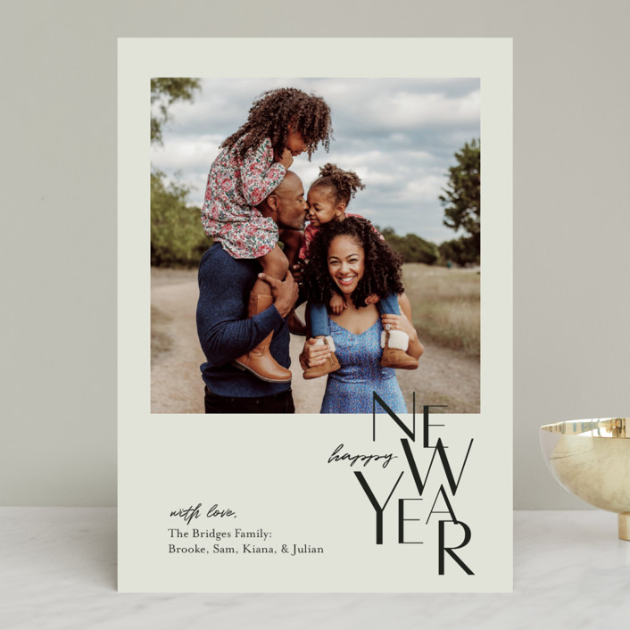 """""""Gallery Type"""" - Christmas Photo Cards in Sage by Laura Condouris."""
