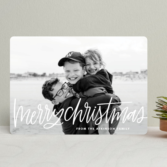 """""""Merry Christmas Lettering"""" - Christmas Photo Cards in Snow by kbecca."""