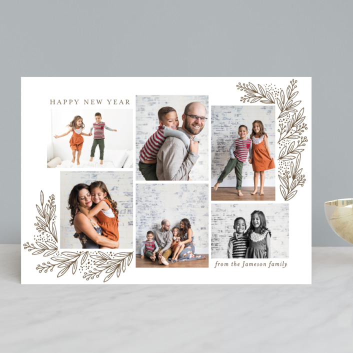 """""""elegant holiday greenery"""" - Christmas Photo Cards in Earth by Alexandra Dzh."""