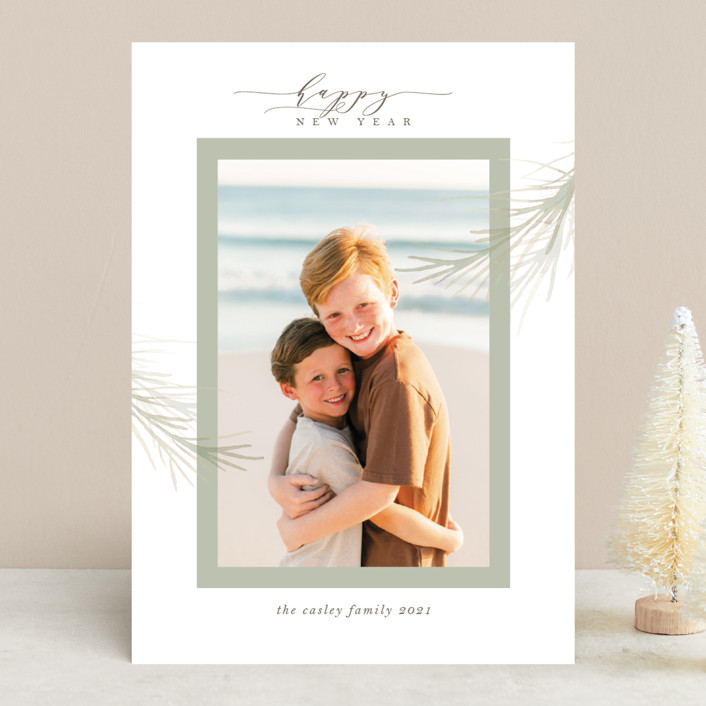 """""""holiday wisp"""" - Christmas Photo Cards in Sage by Melinda Denison."""