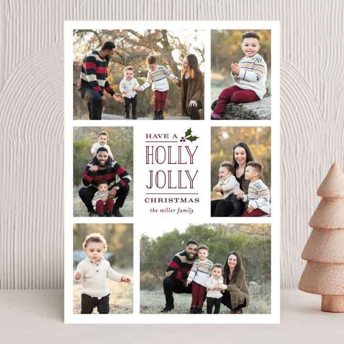 """Holly Jolly Holla"" - Christmas Photo Cards in Berry by Michelle Poe."