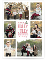 This is a red photo christmas card by Michelle Poe called Holly Jolly Holla with standard printing on smooth signature in standard.
