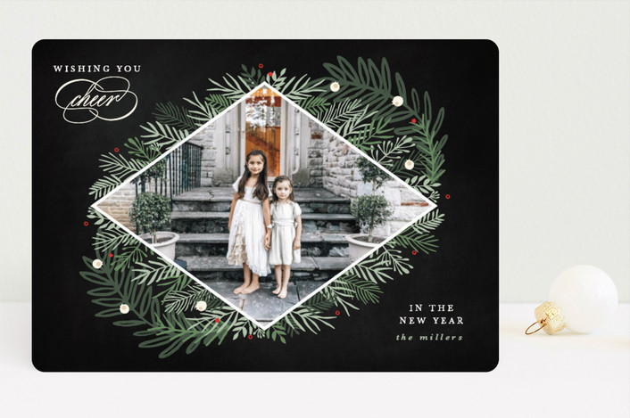 """Cherished"" - Christmas Photo Cards in Noir by Bonjour Berry."
