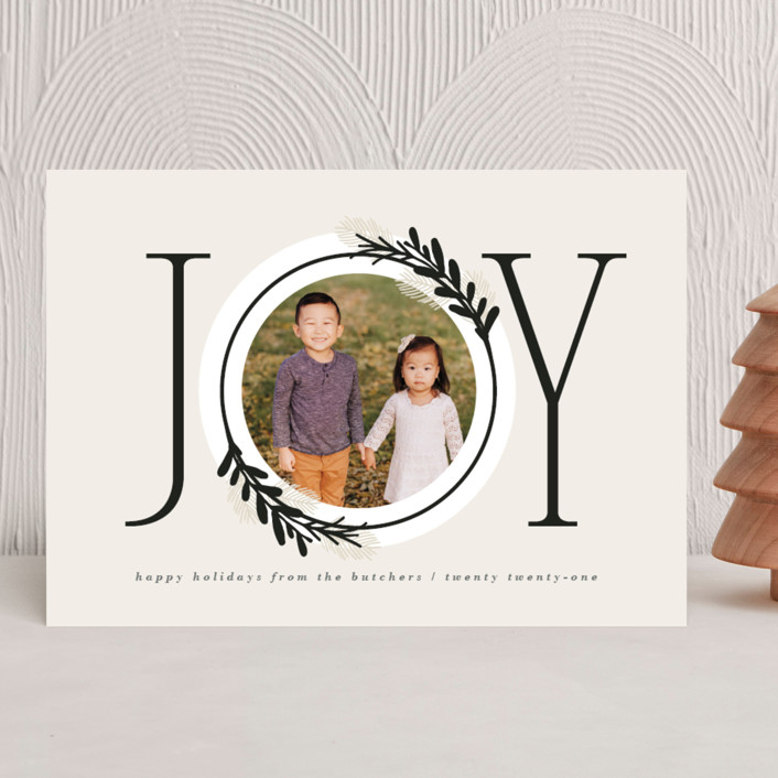 """Center Joy"" - Modern Christmas Photo Cards in Cookie Dough by JeAnna Casper."