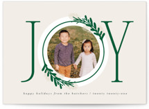 This is a green photo christmas card by JeAnna Casper called Center Joy with standard printing on smooth signature in standard.