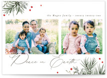 This is a white photo christmas card by Everett Paper Goods called Peaceful Pine with standard printing on doublethick in standard.