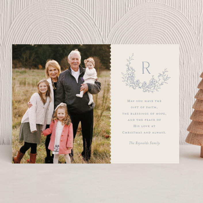 """""""Laurel"""" - Christmas Photo Cards in Bluebell by Vanessa Doyle."""