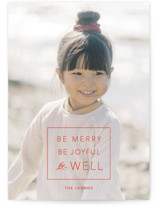 This is a red photo christmas card by Alaina Cherup called be well box with standard printing on smooth signature in standard.