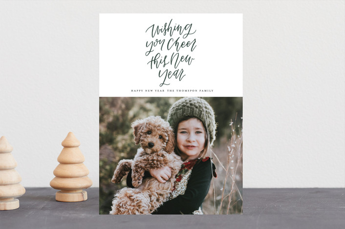 """Modern Script"" - Christmas Photo Cards in Pine by Grace Kreinbrink."