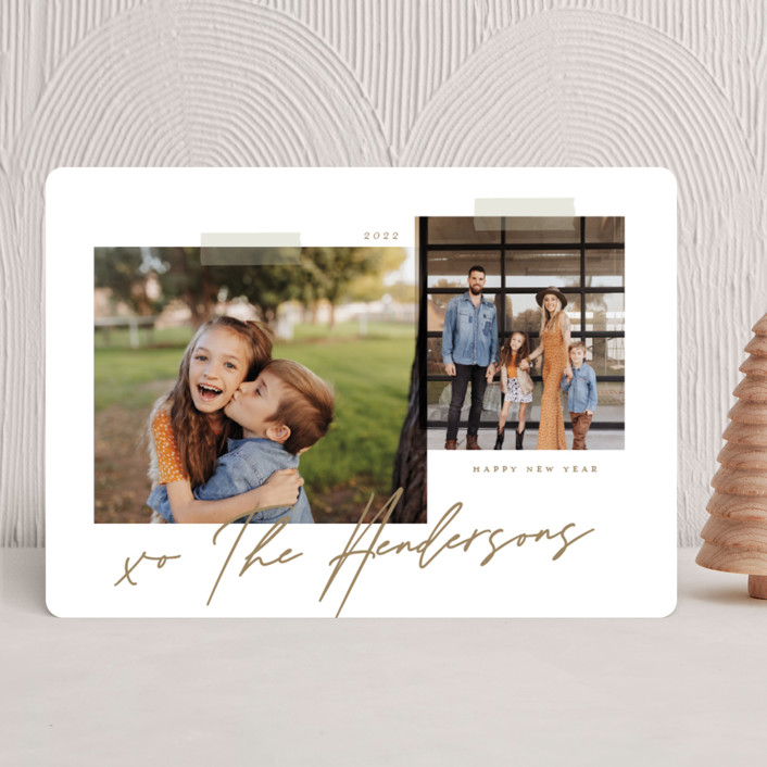 """Snapshots"" - Modern Christmas Photo Cards in Wheat by That Girl Press."