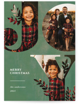 This is a green photo christmas card by Playground Prints called Nature Joy with standard printing on recycled smooth signature in standard.