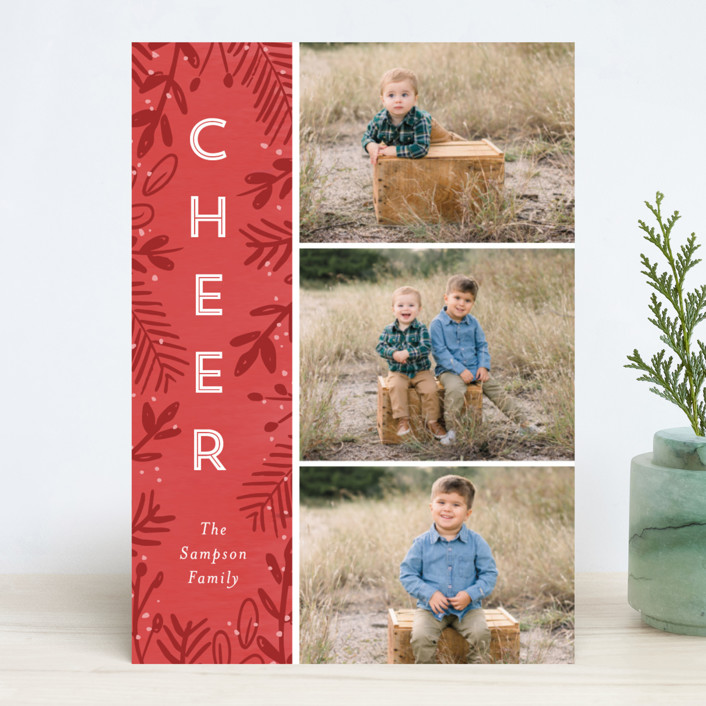 """Joyful Surround"" - Christmas Photo Cards in Berry by Lindsay Megahed."