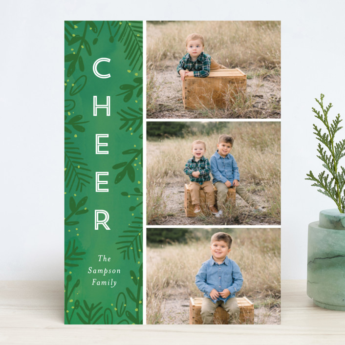 """""""Joyful Surround"""" - Christmas Photo Cards in Pine by Lindsay Megahed."""