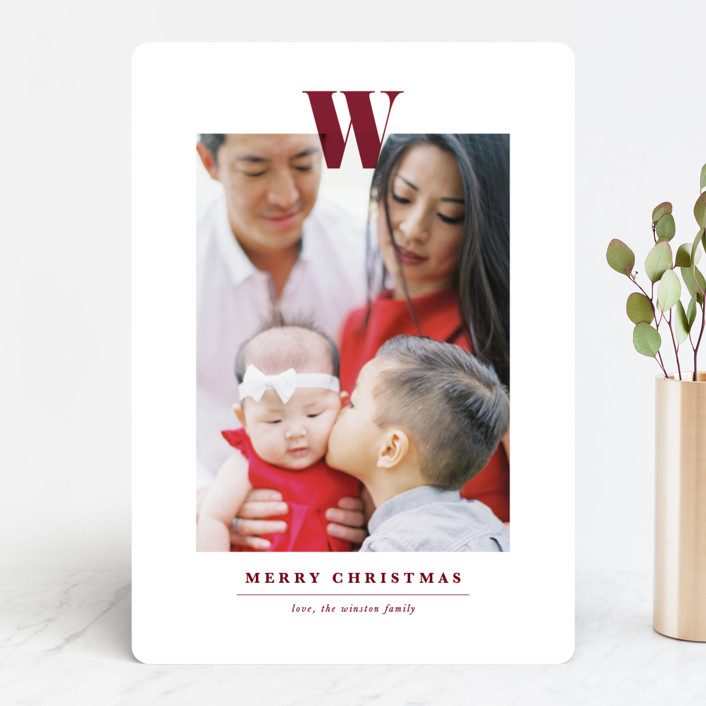 """Minimal Monogram"" - Christmas Photo Cards in Maroon by Ekko Studio."