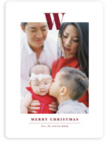 This is a red photo christmas card by Ekko Studio called Minimal Monogram with standard printing on smooth signature in standard.