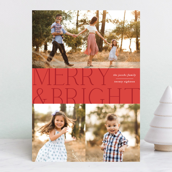 """""""Merry Tri"""" - Christmas Photo Cards in Cranberry by Ellis."""