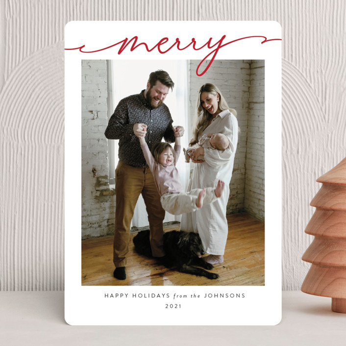 """""""Scripted Merry"""" - Christmas Photo Cards in Crimson by Kasia Labocki."""