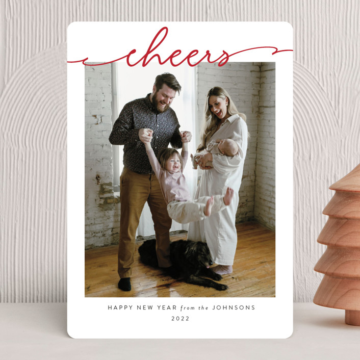 """Scripted Merry"" - Christmas Photo Cards in Crimson by Kasia Labocki."