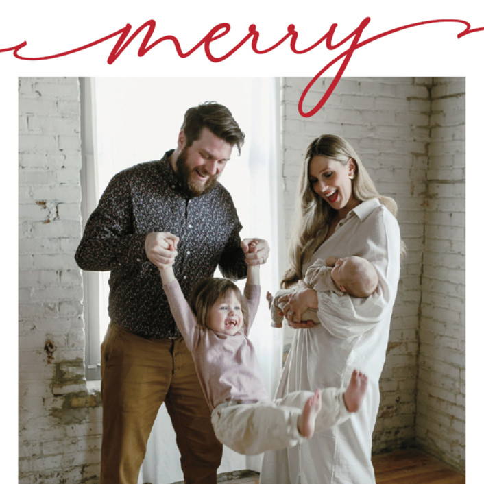 """Scripted Merry"" - Christmas Photo Cards in Crimson by Kasia Labocki. COME BE INSPIRED by 7 Christmas Card Photo Hacks!"
