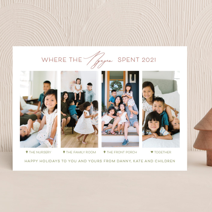 """""""Together Is Our Favorite Place"""" - Funny Christmas Photo Cards in Holly Berry by Carolyn Kach."""