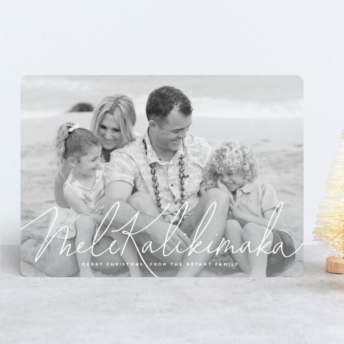 """""""mele kalikimaka e hau'oli makahiki hou"""" - Christmas Photo Cards in Cotton by Guess What Design Studio."""