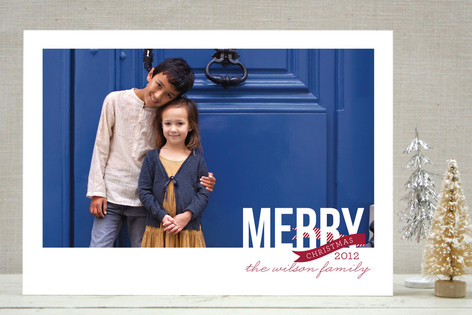 Peppermint Ribbon Christmas Photo Cards