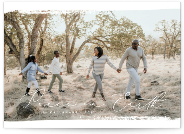 Brushed Peace Christmas Photo Cards