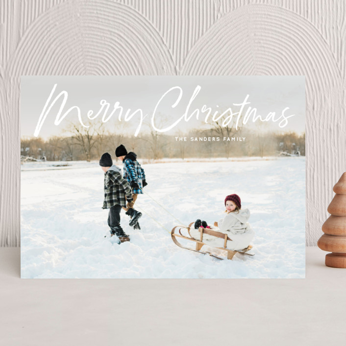 """marker script"" - Modern Christmas Photo Cards in Snow by Baumbirdy."