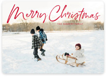 This is a red photo christmas card by Baumbirdy called marker script with standard printing on smooth signature in standard.