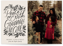 This is a black photo christmas card by Alethea and Ruth called Peace Goodwill with standard printing on doublethick in standard.