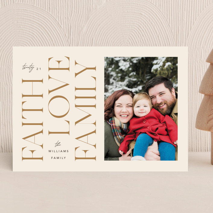 """Faith & Love & Family"" - Christmas Photo Cards in Buttercream by Robert and Stella."