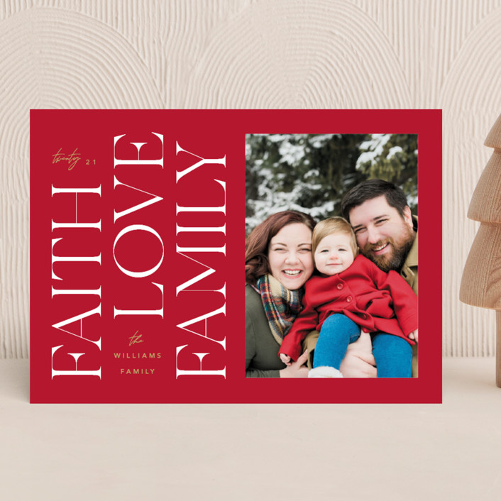 """""""Faith & Love & Family"""" - Christmas Photo Cards in Berry by Robert and Stella."""