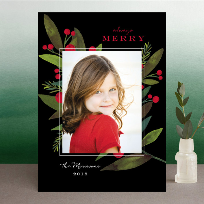 """Bold Winter Foliage"" - Christmas Photo Cards in Licorice by Petra Kern."