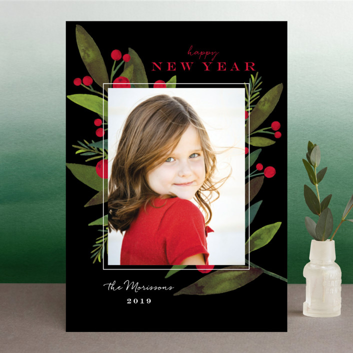 """""""Bold Winter Foliage"""" - Christmas Photo Cards in Licorice by Petra Kern."""