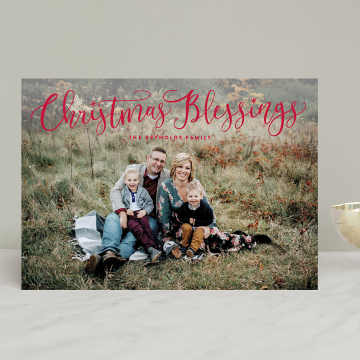 """""""Festive Christmas Blessings"""" - Christmas Photo Cards in Cranberry by Hooray Creative."""