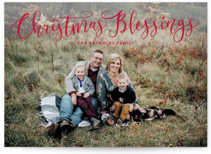 Festive Christmas Blessings Christmas Photo Cards
