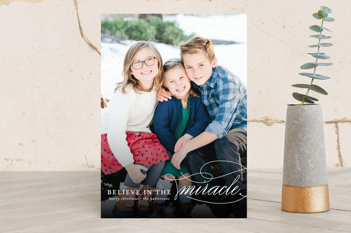 """""""Believe In The Miracle"""" - Christmas Photo Cards in White by Lehan Veenker."""