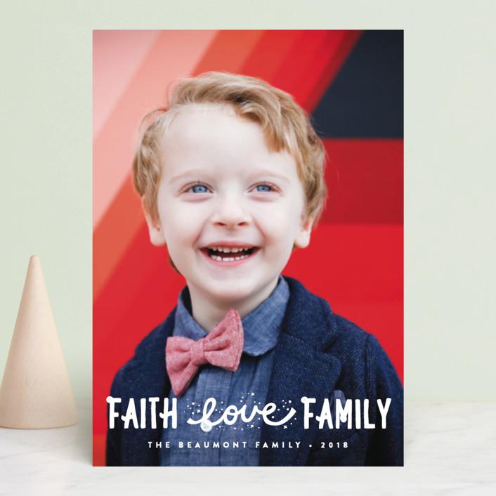 """""""Faith, Love, Family"""" - Christmas Photo Cards in Snow by Erica Krystek."""